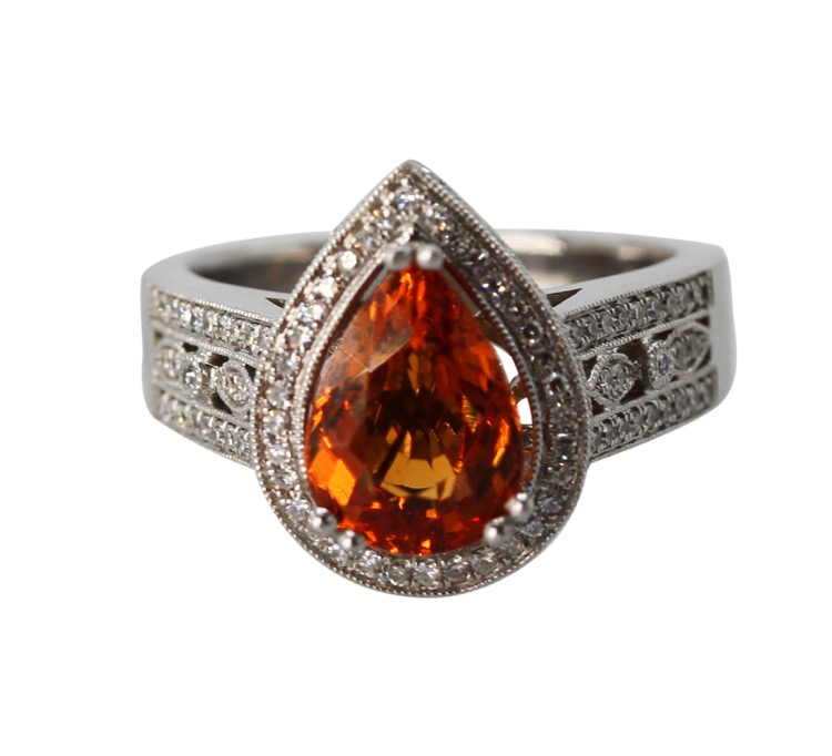 14 Karat White Gold, Mandarin Garnet and Diamond Ring