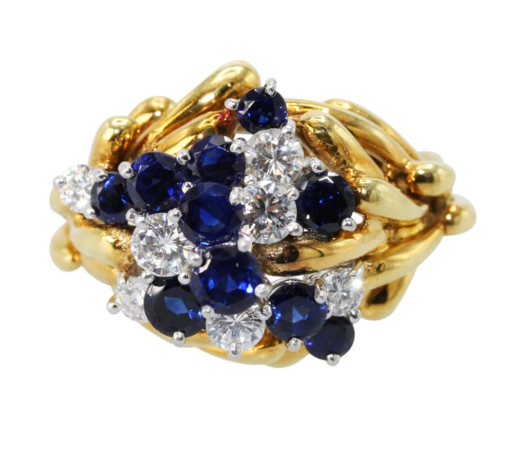 18 Karat Yellow Gold, Platinum, Sapphire and Diamond Ring by Kurt Wayne