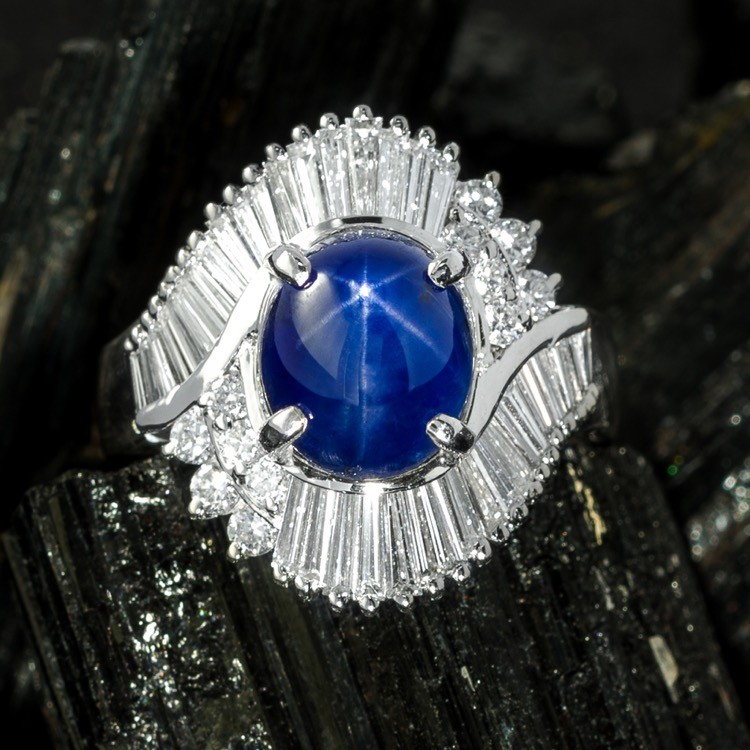 Platinum, Blue Star Sapphire and Diamond Ring