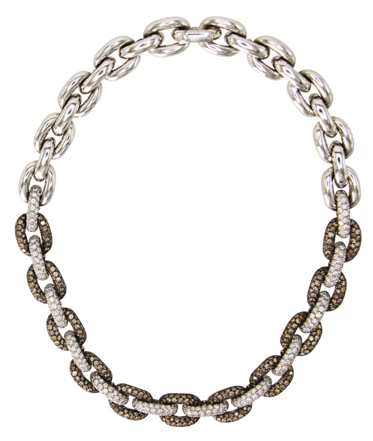 18 Karat White Gold, White and Colored Diamond Necklace by ZYDO