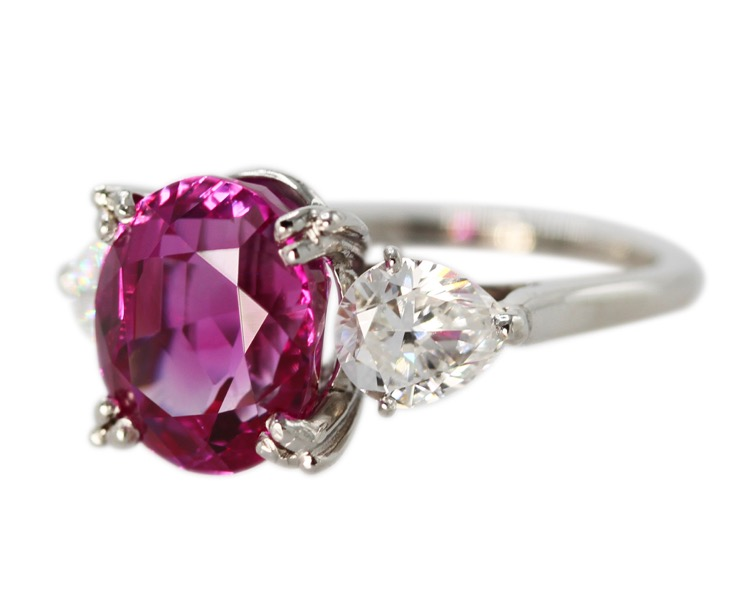 Cartier Rings Platinum Pink Sapphire And Diamond Ring