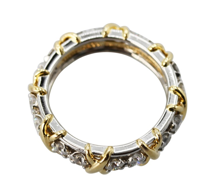 "18 Karat Yellow Gold, Platinum and Diamond ""Sixteen Stone"" Ring by Schlumberger for Tiffany & Co. - Image #2"