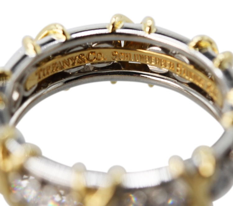 "18 Karat Yellow Gold, Platinum and Diamond ""Sixteen Stone"" Ring by Schlumberger for Tiffany & Co. - Image #3"