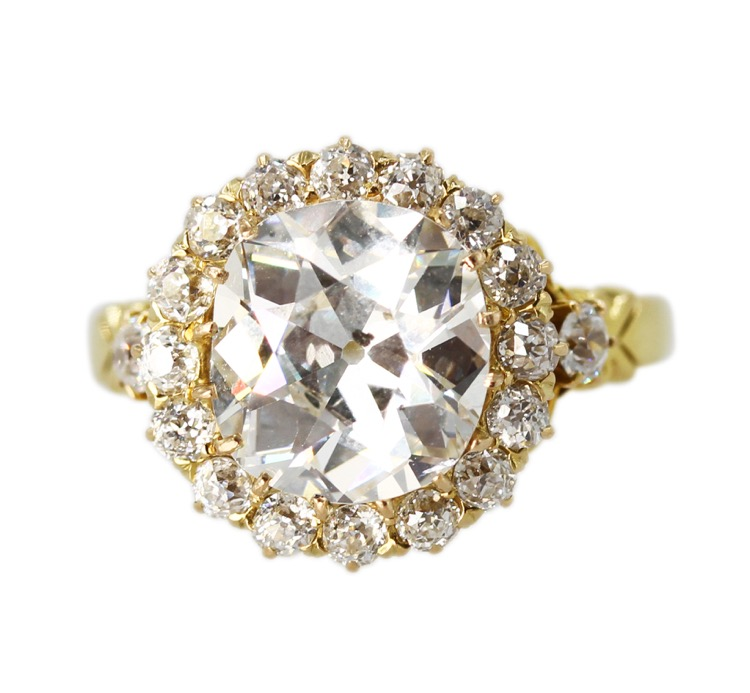 Antique Old Mine Cut Diamond Ring, 18K Yellow Gold