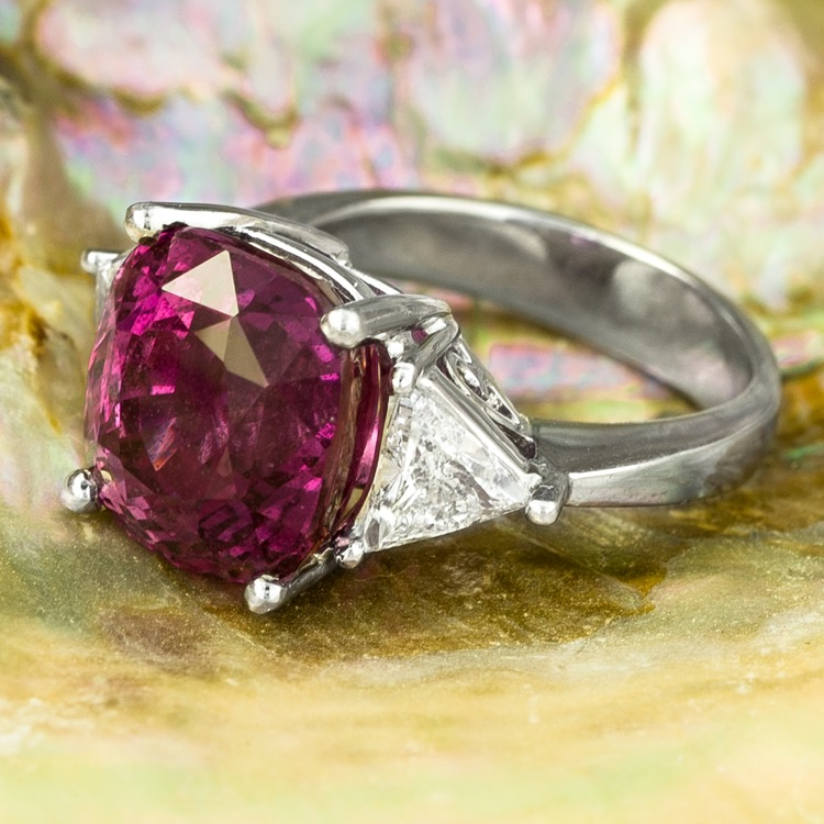 A Platinum, Pink Sapphire and Diamond Ring - Image #2