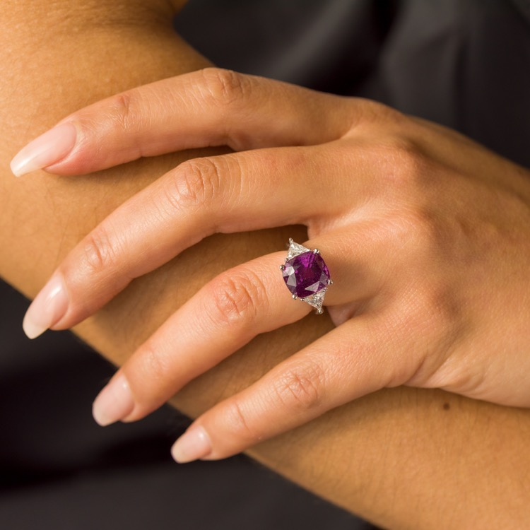 A Platinum, Pink Sapphire and Diamond Ring - Image #3