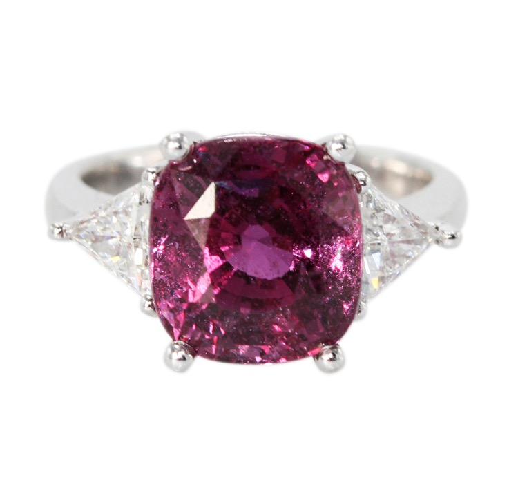 A Platinum, Pink Sapphire and Diamond Ring - Image #4