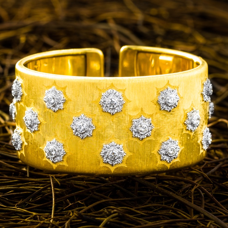 18 Karat Two-Tone Gold and Diamond Cuff Bracelet by Buccellati, Italy