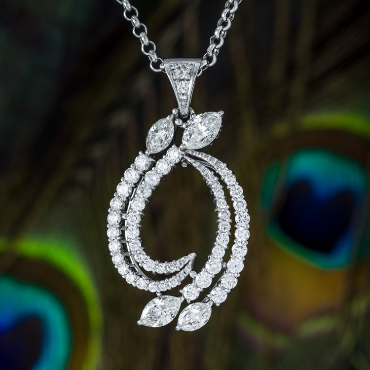 Platinum and Diamond Pendant with Chain