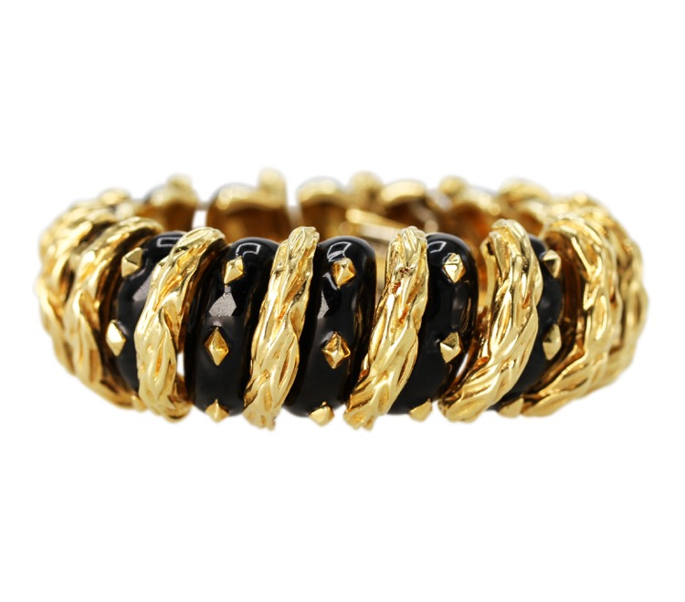 18 Karat Yellow Gold and Black Enamel Bracelet by David Webb