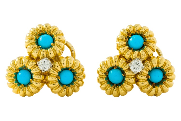 Pair of 18 Karat Yellow Gold, Turquoise and Diamond Earclips