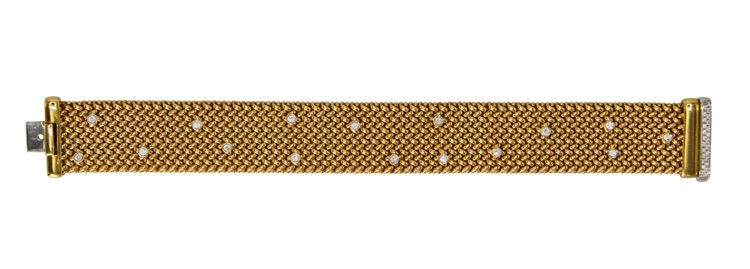 18 Karat Gold and Diamond Strap Bracelet, Italy