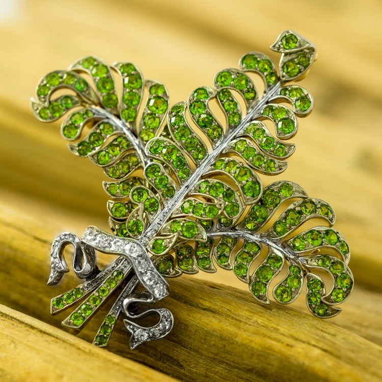 Edwardian Demantoid and Diamond Brooch, TB Starr