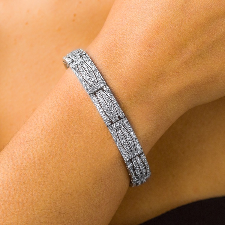 Art Deco Platinum Diamond Bracelet by Chaumet, French - Image #3