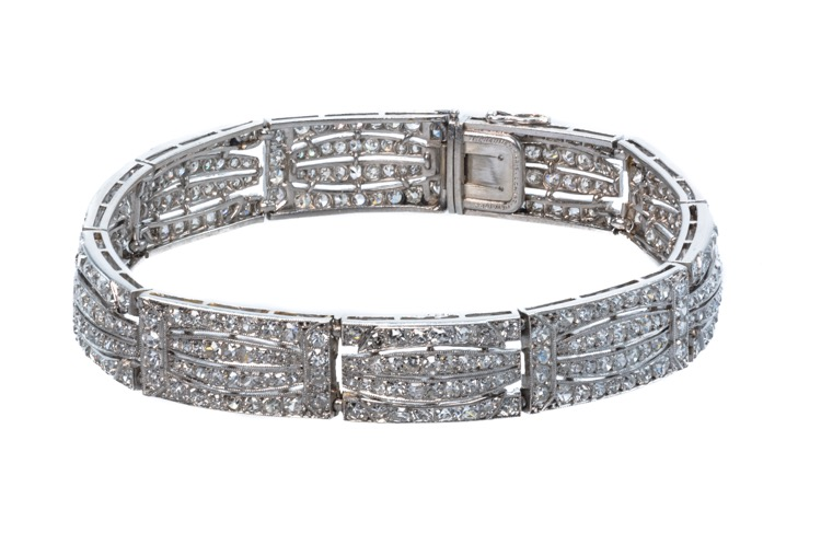 Art Deco Platinum Diamond Bracelet by Chaumet, French - Image #4