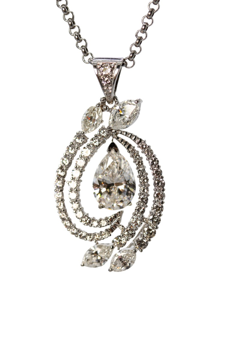 Platinum Diamond Pendant Necklace - Image #1