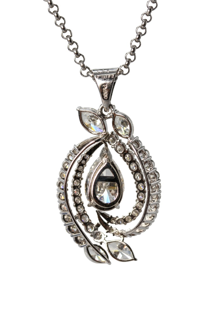 Platinum Diamond Pendant Necklace - Image #2