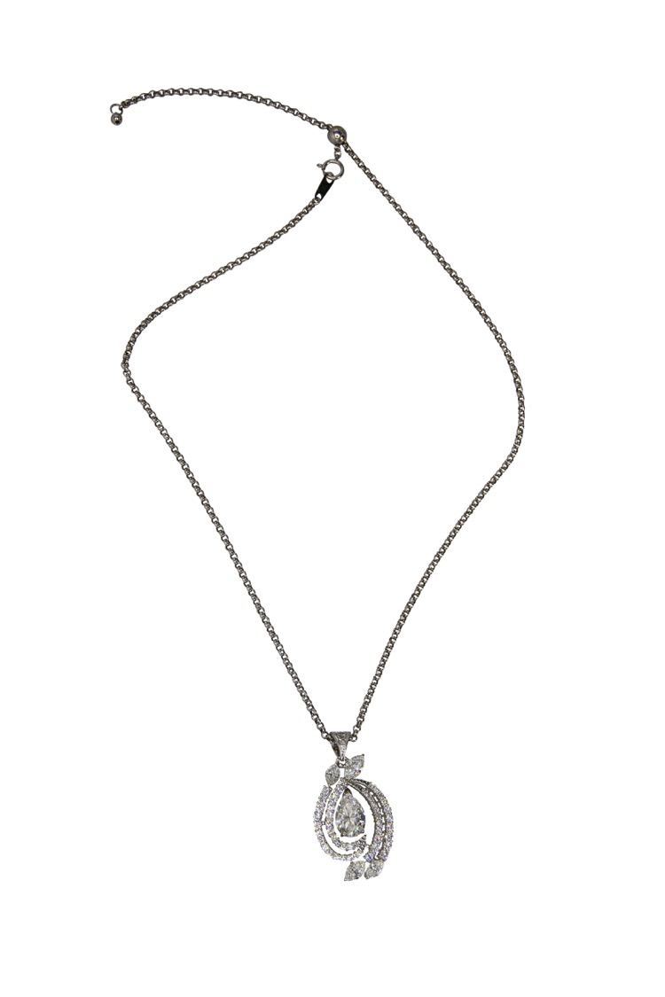 Platinum Diamond Pendant Necklace - Image #3