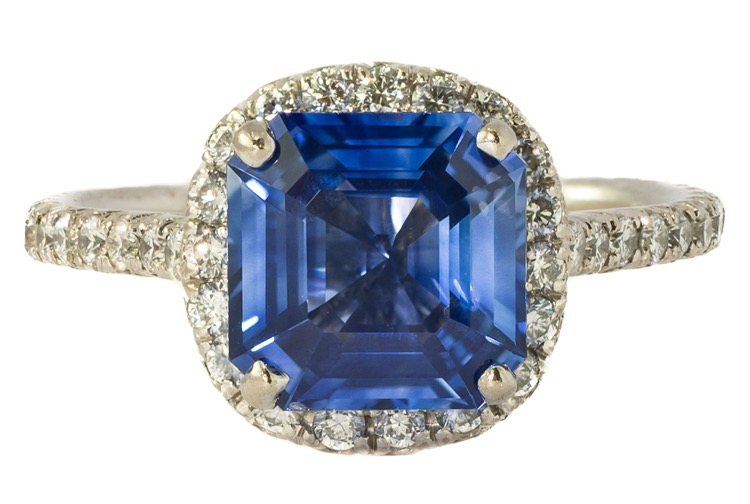 14 Karat White Gold Sapphire and Diamond Ring