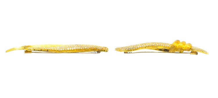 Pair of 18 Karat Yellow Gold Diamond Brooches by Henry Dunay - Image #2