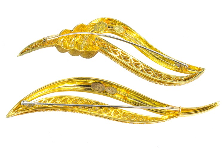 Pair of 18 Karat Yellow Gold Diamond Brooches by Henry Dunay - Image #3