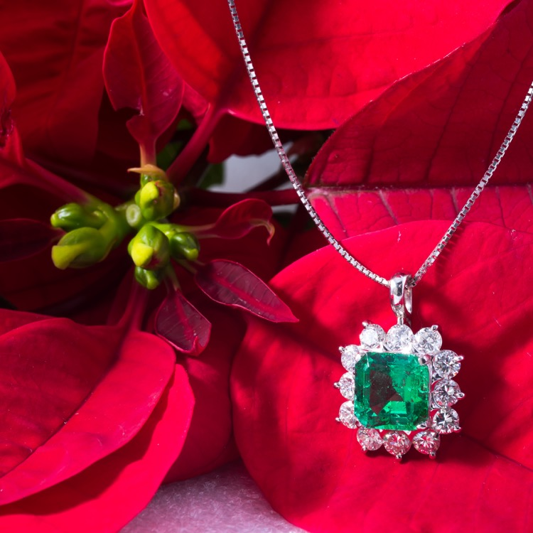 Emerald and Diamond Pendant Necklace, Platinum