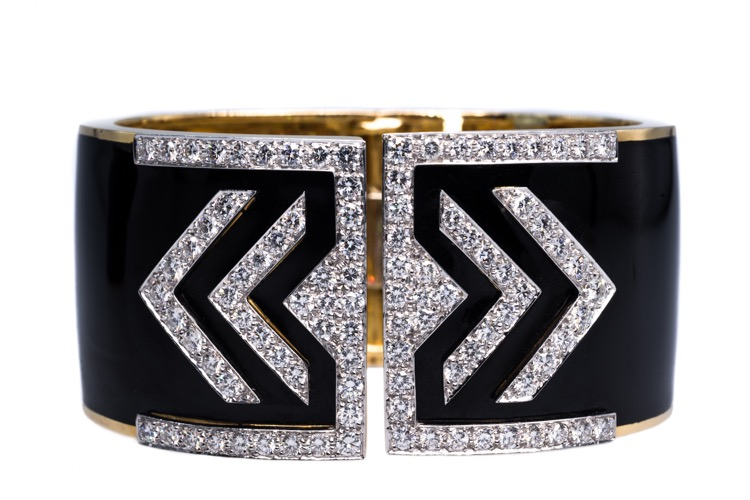 18 Karat Yellow Gold and Platinum, Enamel and Diamond Cuff Bracelet by David Webb