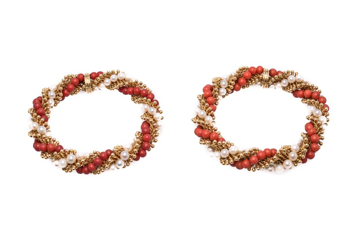 Pair of 18 Karat Yellow Gold Coral and Pearl Bracelets by Van Cleef & Arpels, French
