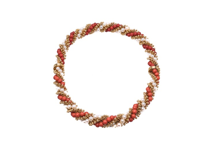 Pair of 18 Karat Yellow Gold Coral and Pearl Bracelets by Van Cleef & Arpels, French - Image #2