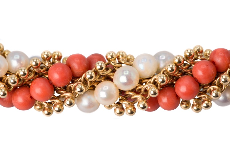 Pair of 18 Karat Yellow Gold Coral and Pearl Bracelets by Van Cleef & Arpels, French - Image #3