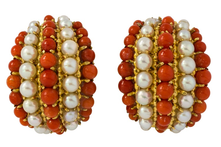 18 Karat Yellow Gold Coral and Pearl Earrings by Van Cleef & Arpels
