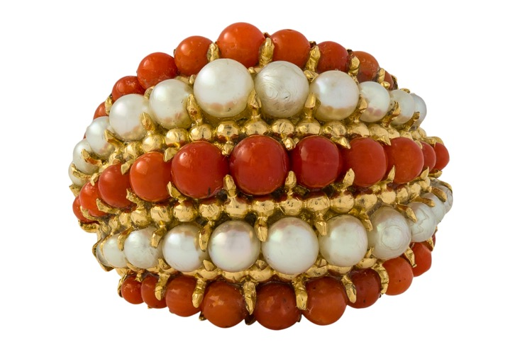 18 Karat Yellow Gold Coral and Pearl Ring by Van Cleef & Arpels, French