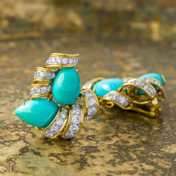 Pair of Platinum and 18 Karat Yellow Gold Turquoise and Diamond, Earrings by David Webb  - Image #2