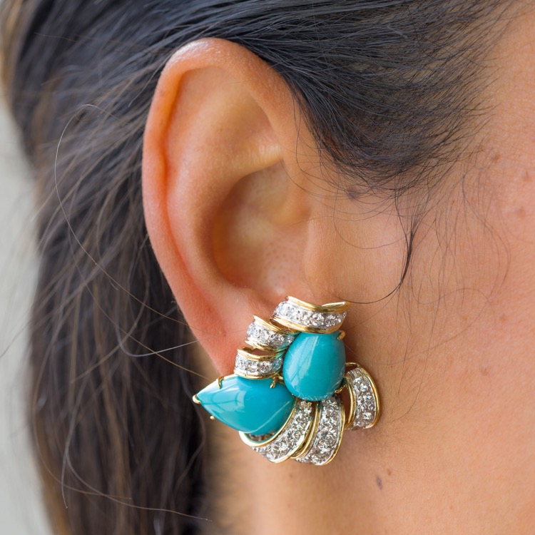 Pair of Platinum and 18 Karat Yellow Gold Turquoise and Diamond, Earrings by David Webb  - Image #3