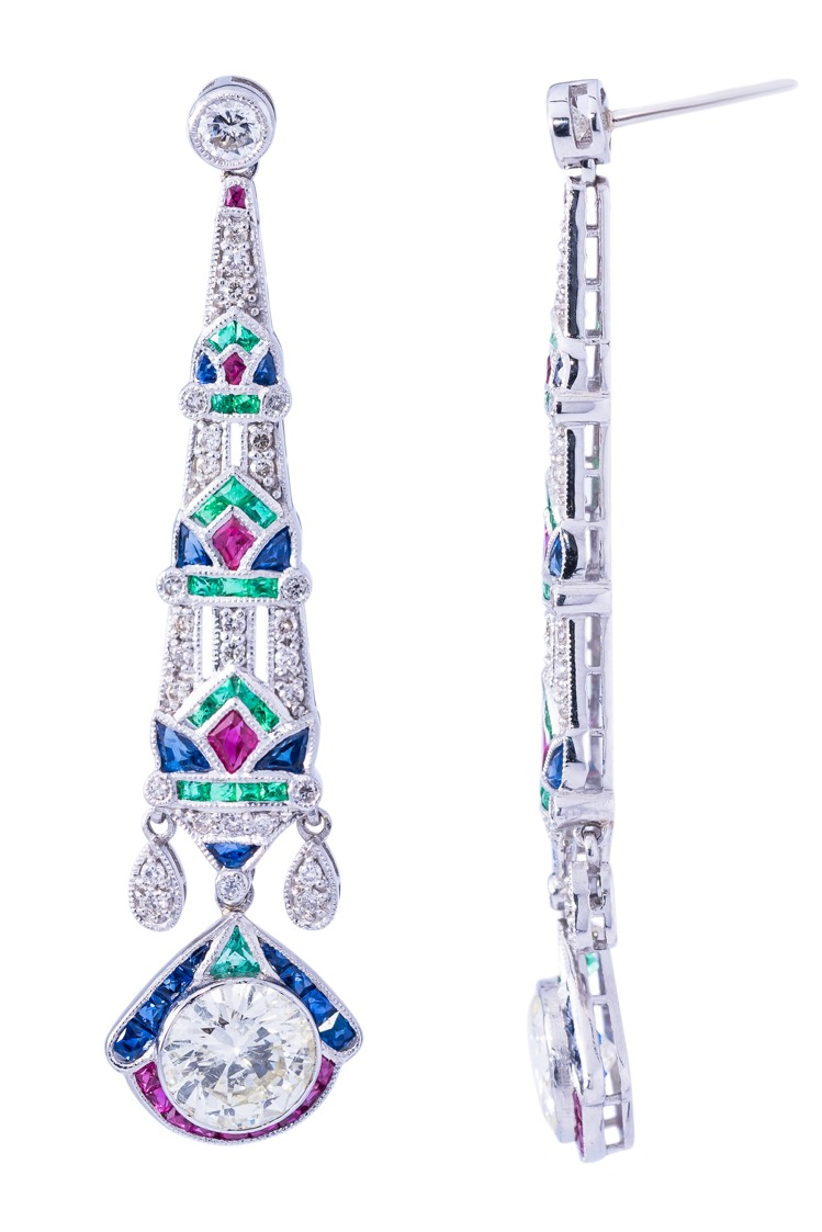 Pair of Platinum, Diamond, Emerald, Ruby and Sapphire Earrings - Image #2