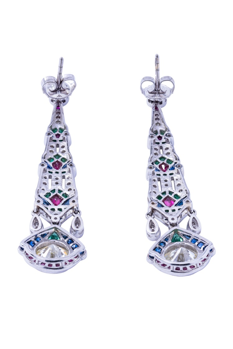 Pair of Platinum, Diamond, Emerald, Ruby and Sapphire Earrings - Image #3