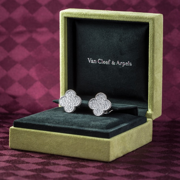 18 Karat White Gold Magic Alhambra Diamond Earrings by Van Cleef & Arpels