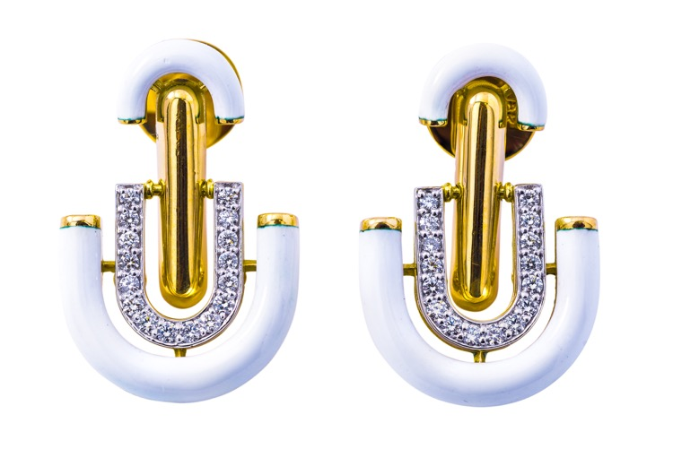 18 Karat Yellow Gold Diamond and Enamel Unity Earrings by David Webb