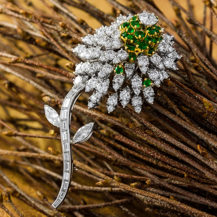 Platinum, Diamond and Emerald Flower Brooch by Kurt Wayne - Image #2