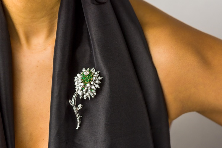 Platinum, Diamond and Emerald Flower Brooch by Kurt Wayne - Image #3