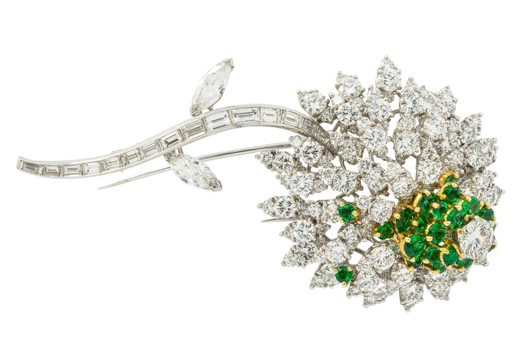 Platinum, Diamond and Emerald Flower Brooch by Kurt Wayne - Image #4