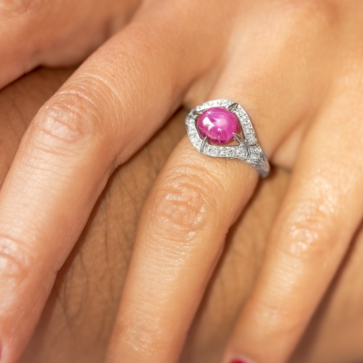 No Heat Burma Star Ruby Art Deco Diamond Ring, Platinum