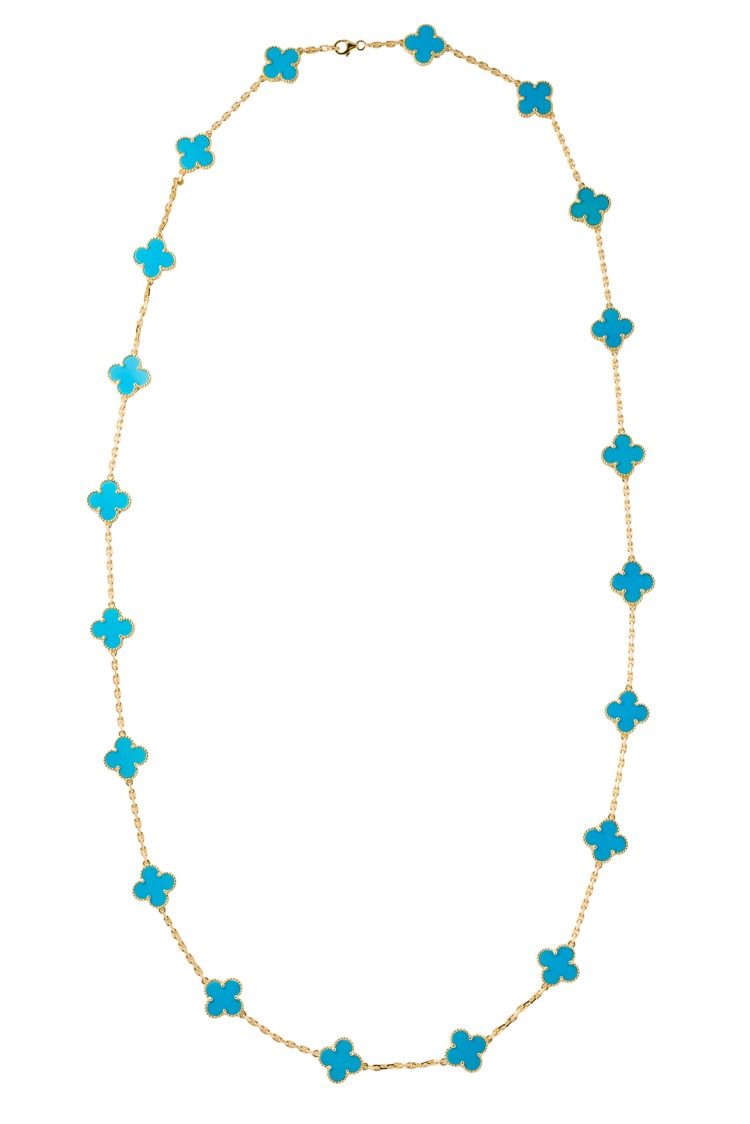 18 Karat Yellow Gold Turquoise 20 piece Alhambra Necklace by Van Cleef and Arpels