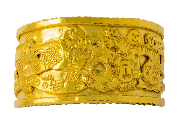 22k Yellow Gold Cuff Bracelet by Jean Mahie - Image #2