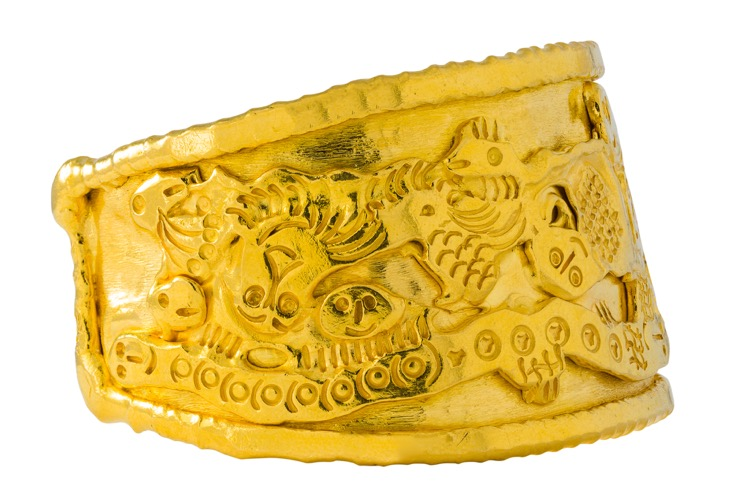22k Yellow Gold Cuff Bracelet by Jean Mahie - Image #4
