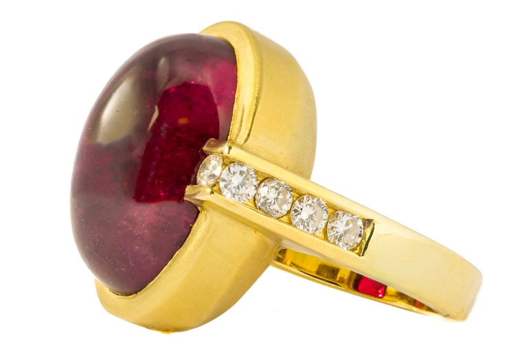 18 Karat Yellow Gold Rubellite and Diamond Ring - Image #2