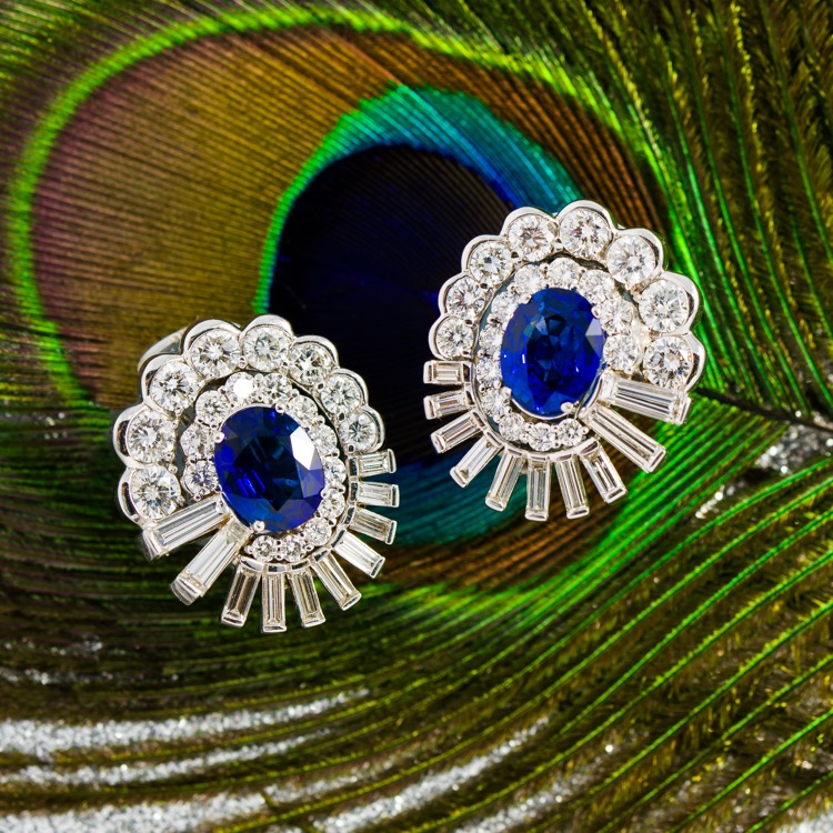 Platinum and 18 Karat White Gold Sapphire Diamond Earrings