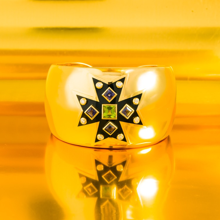 18 Karat Yellow Gold Peridot, Iolite and Diamond Maltese Cuff Bracelet by Verdura