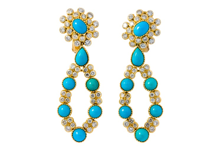 18 Karat Yellow Gold Turquoise and Diamond Earrings by Cartier, Paris