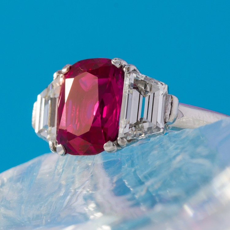No Heat Burma Ruby and Diamond Ring, Platinum